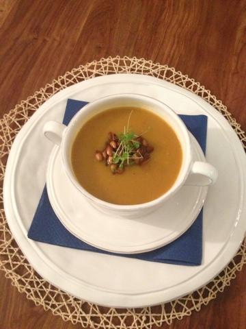 Coconut curry butternut squash soup with oven roasted pepitas